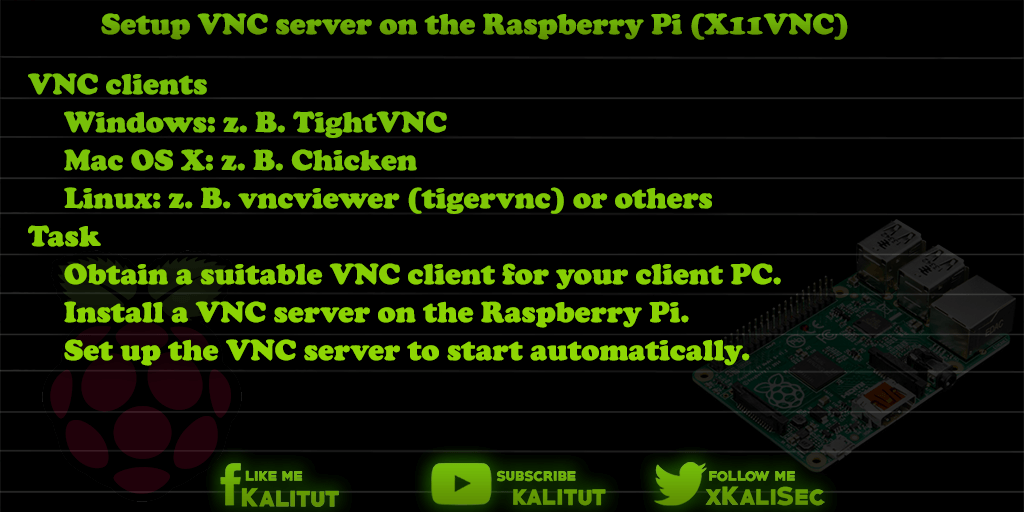Setup raspberry pi vnc server (X11VNC)
