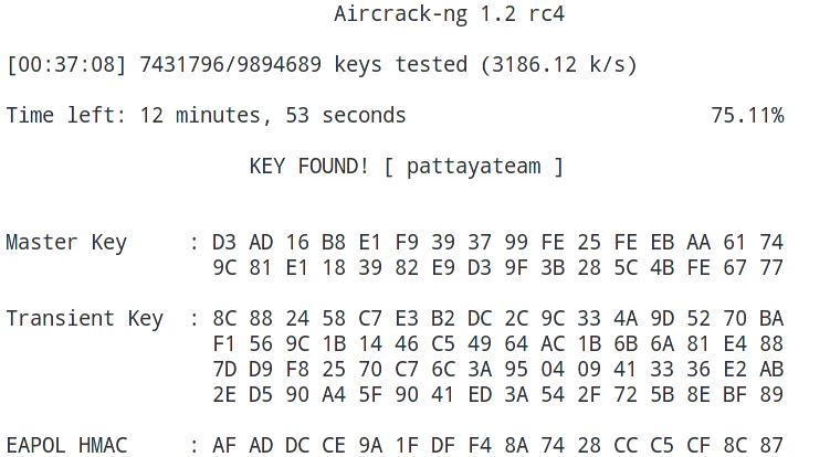 Aircrack-ng key found