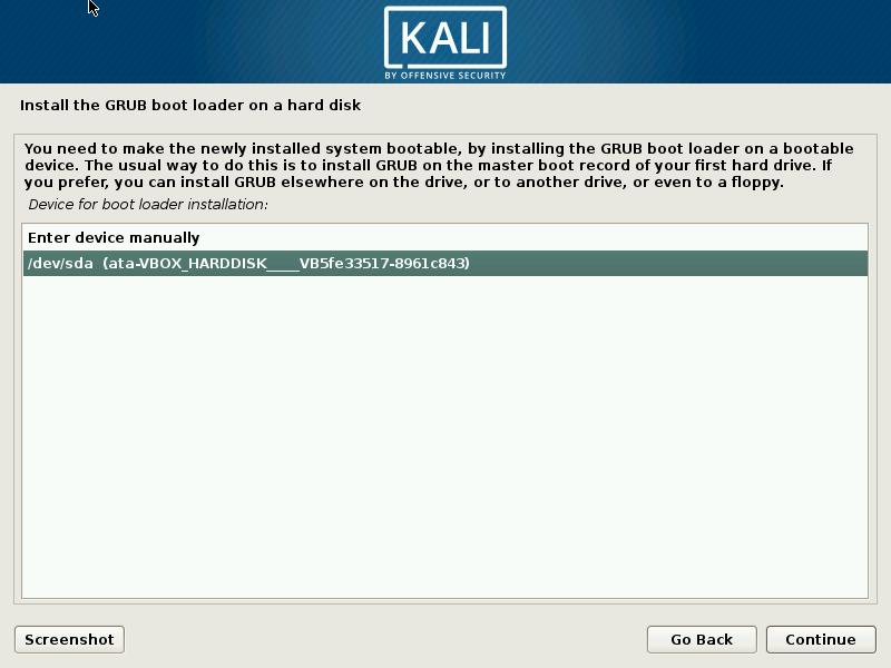 kali boot loader