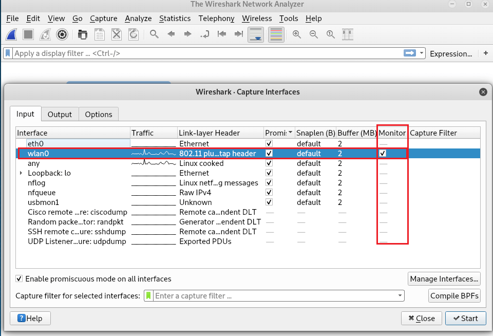 Capture wifi traffic with wireshark