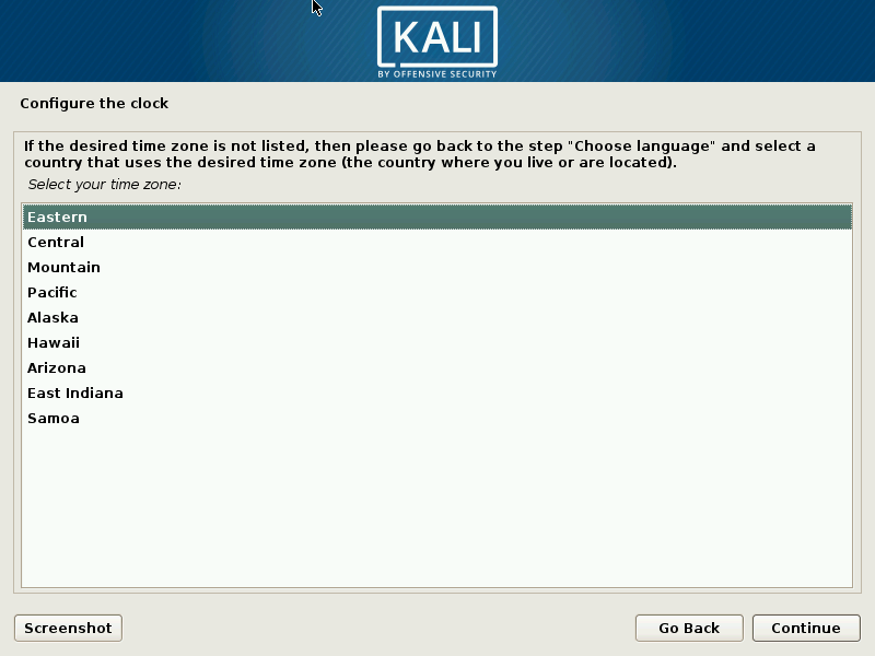 kali linux time install