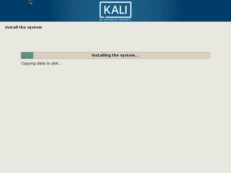 kali linux installing the system