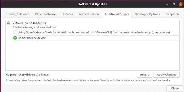 Ubuntu additional drivers