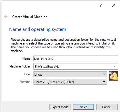 kali linux virtualbox