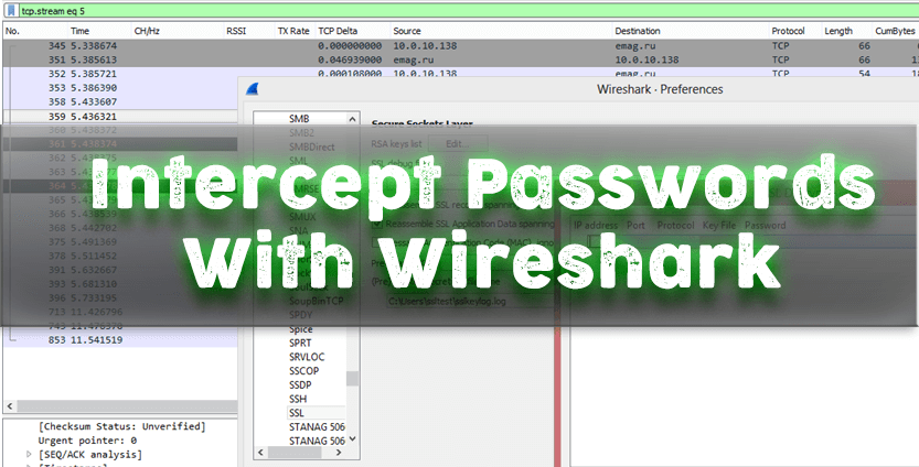 capture passwords with wireshark