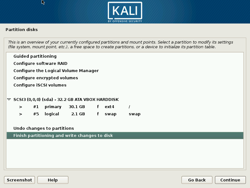 finish partitioning kali linux