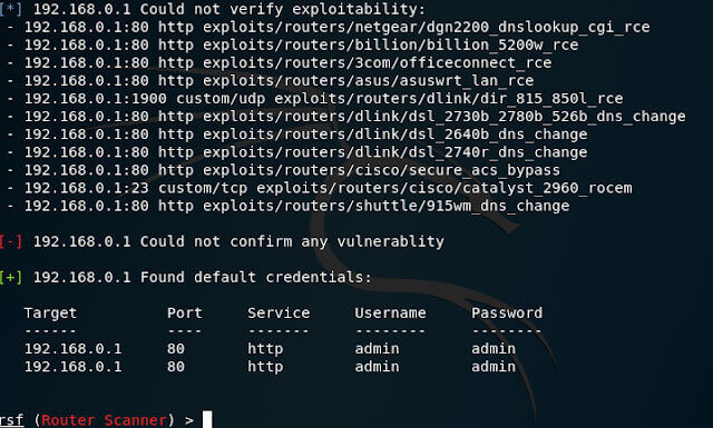 RouterSploit set target