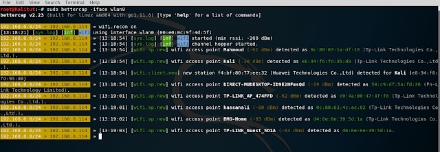 Monitoring Wi-Fi networks using bettercap